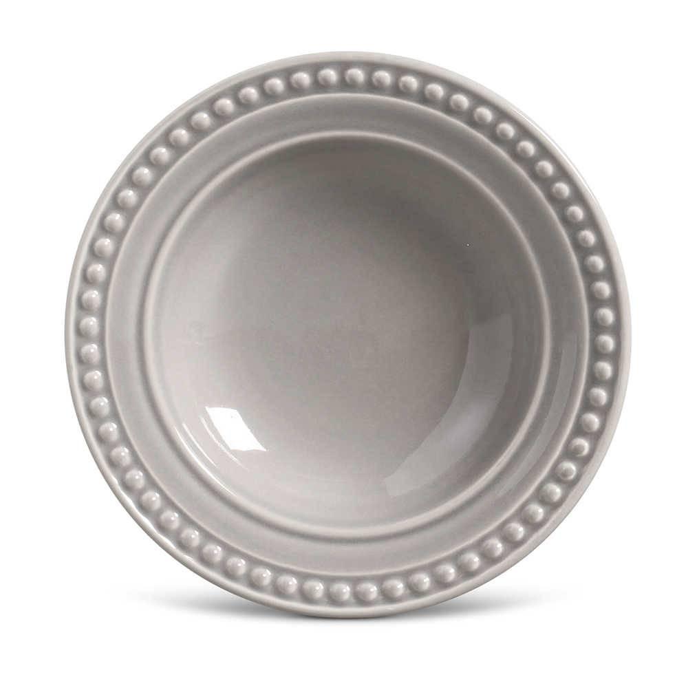 Conjunto de Pratos Fundos Atenas Cinza Claro - 6 Peças - em Cerâmica - La Tavola - Porto Brasil - 22x5 cm