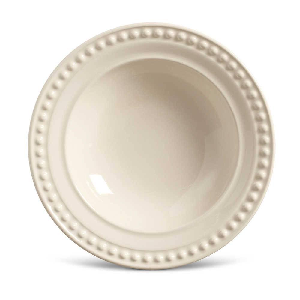 Conjunto de Pratos Fundos Atenas Crú - 6 Peças - em Cerâmica - La Tavola - Porto Brasil - 22x5 cm