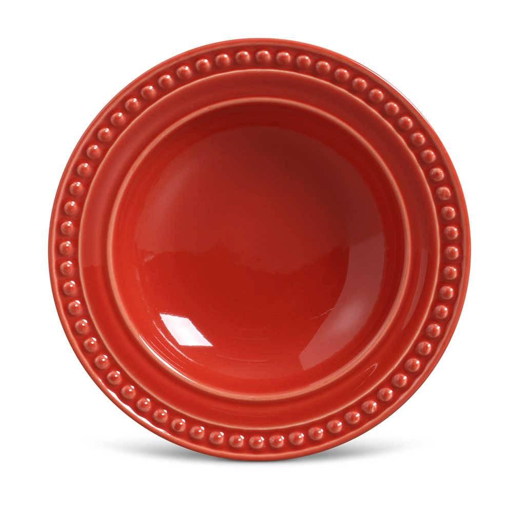 Conjunto de Pratos Fundos Atenas Vermelho - 6 Peças - em Cerâmica - La Tavola - Porto Brasil - 22x5 cm