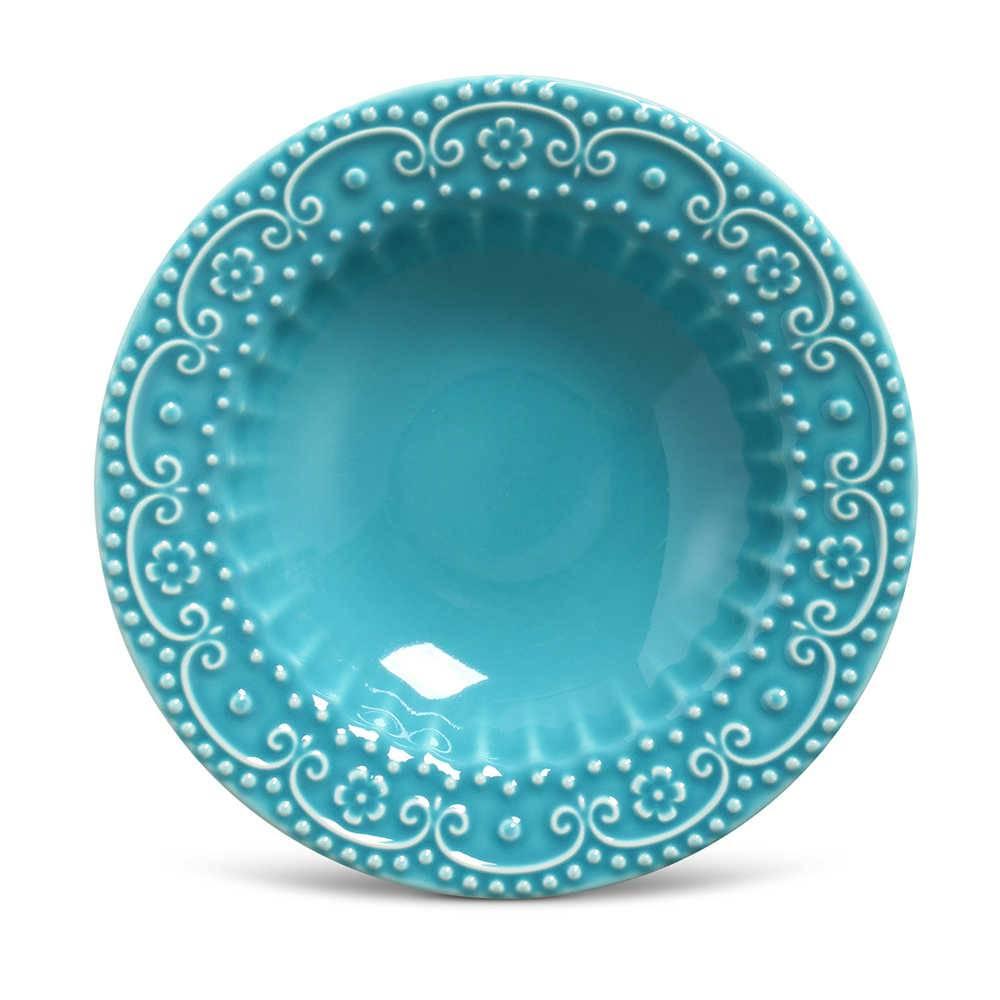Conjunto de Pratos Fundos Esparta Azul Poppy - 6 Peças - em Cerâmica - La Tavola - Porto Brasil - 22x5 cm