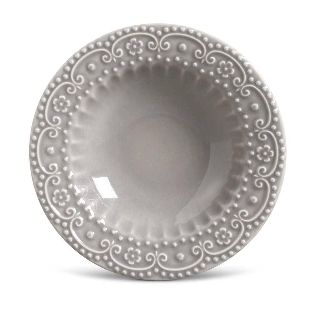 Conjunto de Pratos Fundos Esparta Cinza Claro - 6 Peças - em Cerâmica - La Tavola - Porto Brasil - 22x5 cm
