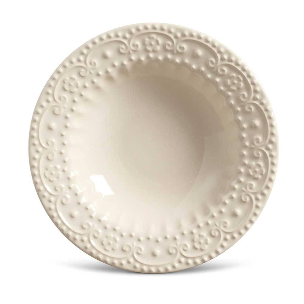 Conjunto de Pratos Fundos Esparta Crú - 6 Peças - em Cerâmica - La Tavola - Porto Brasil - 22x5 cm