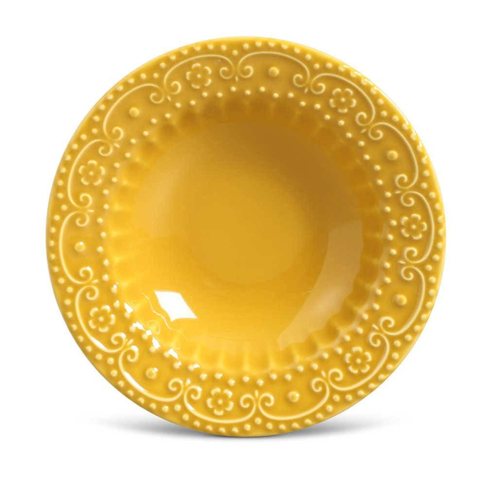 Conjunto de Pratos Fundos Esparta Mostarda - 6 Peças - em Cerâmica - La Tavola - Porto Brasil - 22x5 cm