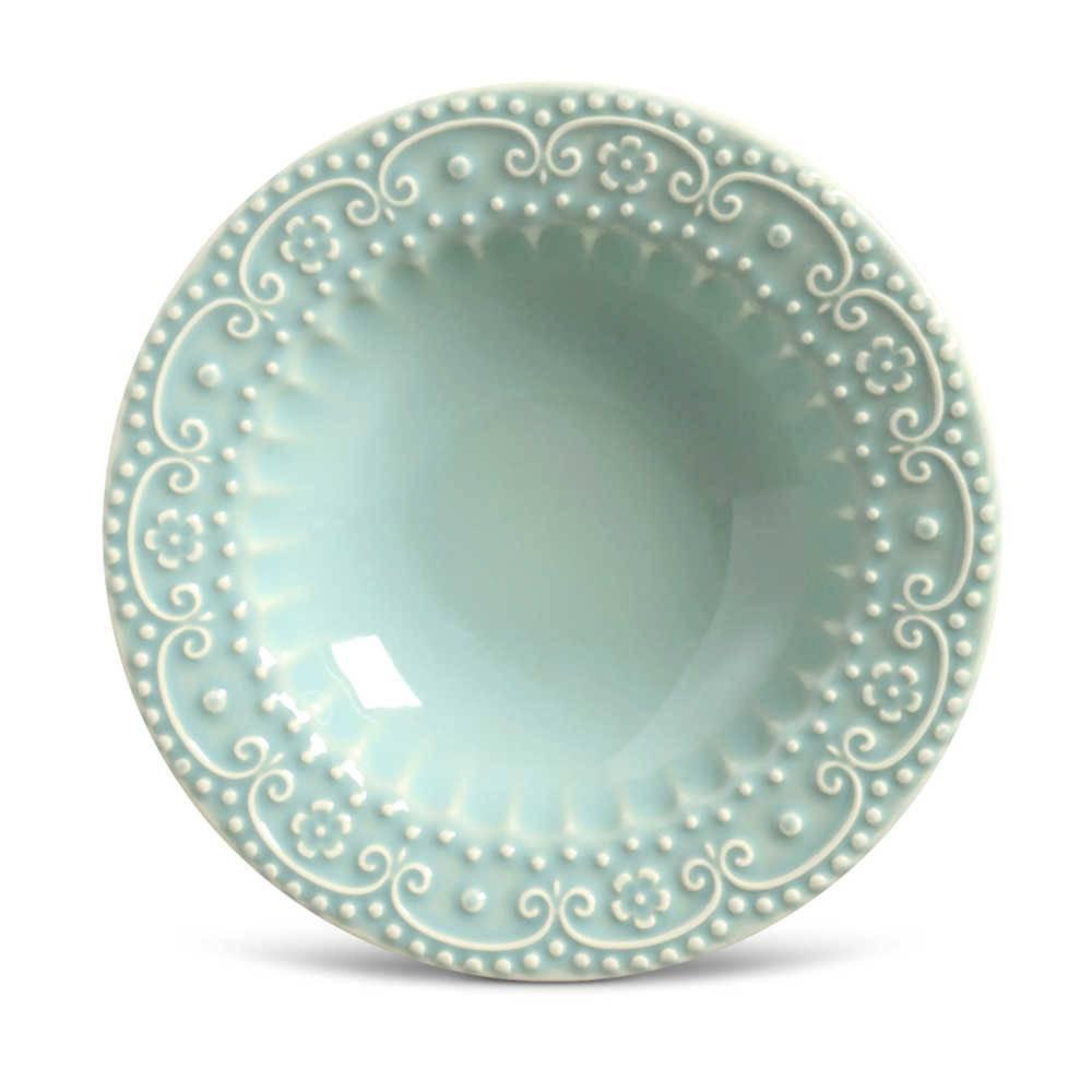 Conjunto de Pratos Fundos Esparta Verde - 6 Peças - em Cerâmica - La Tavola - Porto Brasil - 22x5 cm