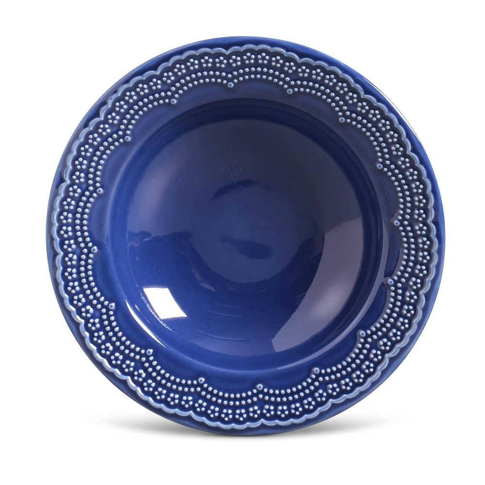 Conjunto de Pratos Fundos Madeleine Azul Navy - 6 Peças - em Cerâmica - La Tavola - Porto Brasil - 22x5 cm