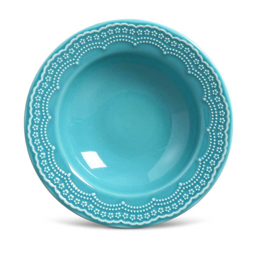 Conjunto de Pratos Fundos Madeleine Azul Poppy - 6 Peças - em Cerâmica - La Tavola - Porto Brasil - 22x5 cm