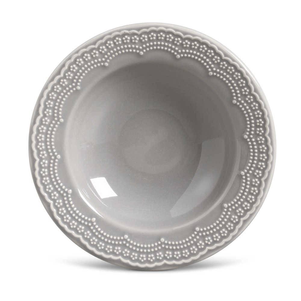 Conjunto de Pratos Fundos Madeleine Cinza Claro - 6 Peças - em Cerâmica - La Tavola - Porto Brasil - 22x5 cm
