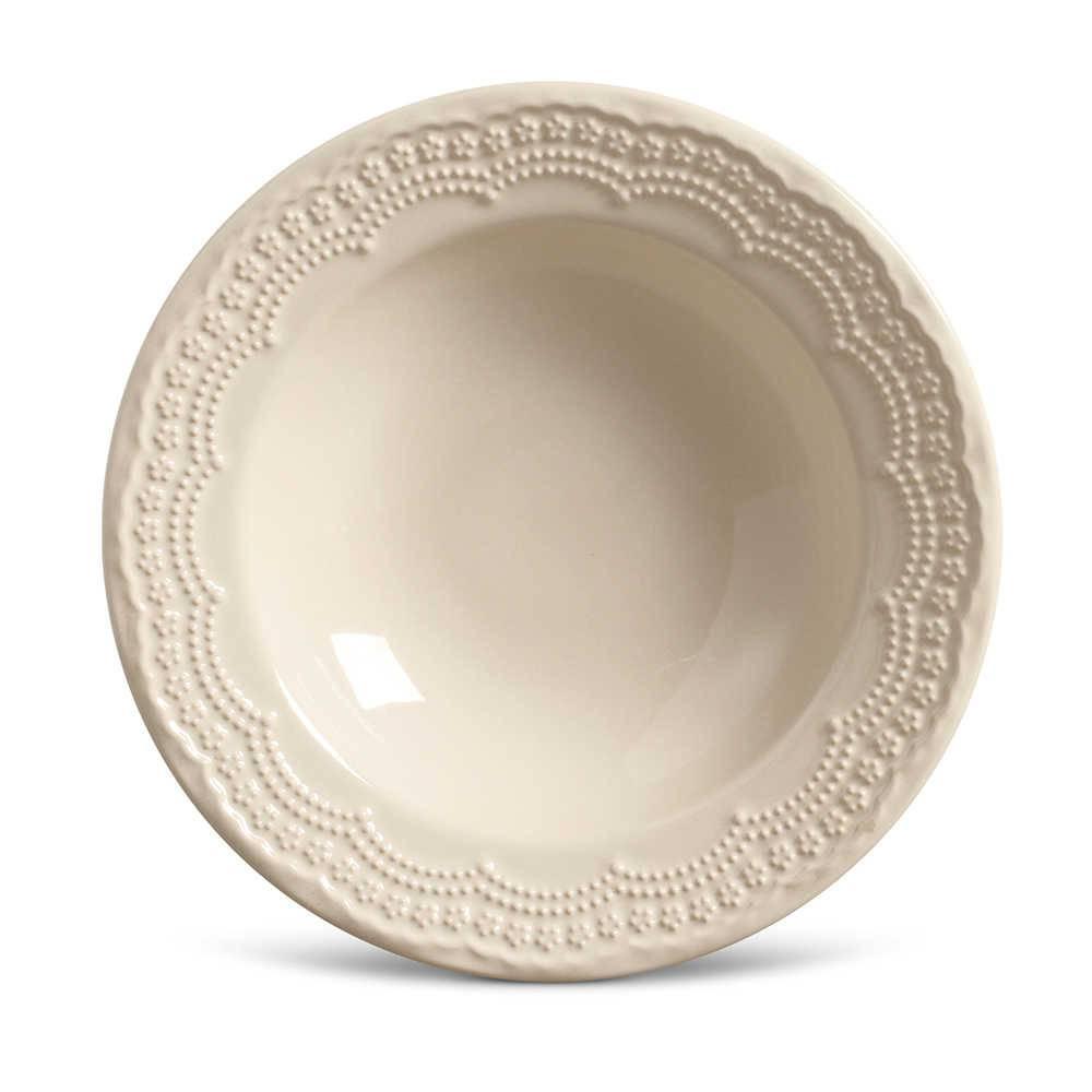 Conjunto de Pratos Fundos Madeleine Crú - 6 Peças - em Cerâmica - La Tavola - Porto Brasil - 22x5 cm