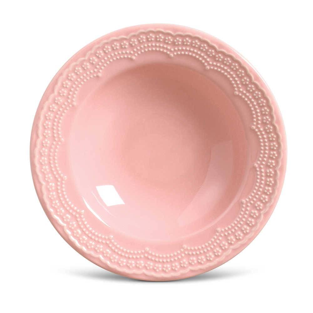 Conjunto de Pratos Fundos Madeleine Rosa - 6 Peças - em Cerâmica - La Tavola - Porto Brasil - 22x5 cm