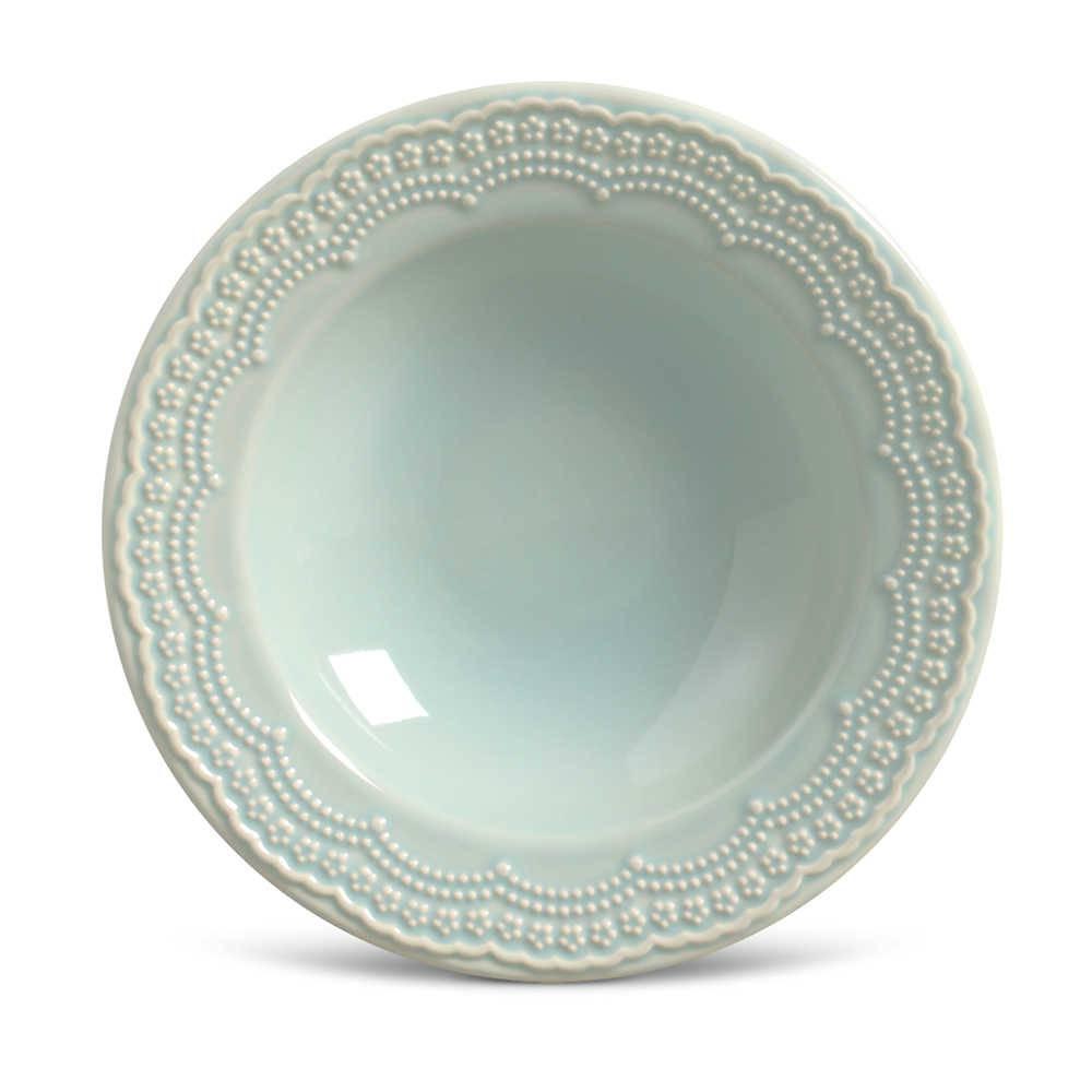 Conjunto de Pratos Fundos Madeleine Verde - 6 Peças - em Cerâmica - La Tavola - Porto Brasil - 22x5 cm