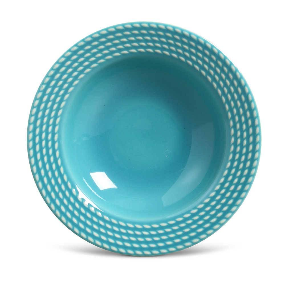 Conjunto de Pratos Fundos Olimpia Azul Poppy - 6 Peças - em Cerâmica - La Tavola - Porto Brasil - 22x5 cm
