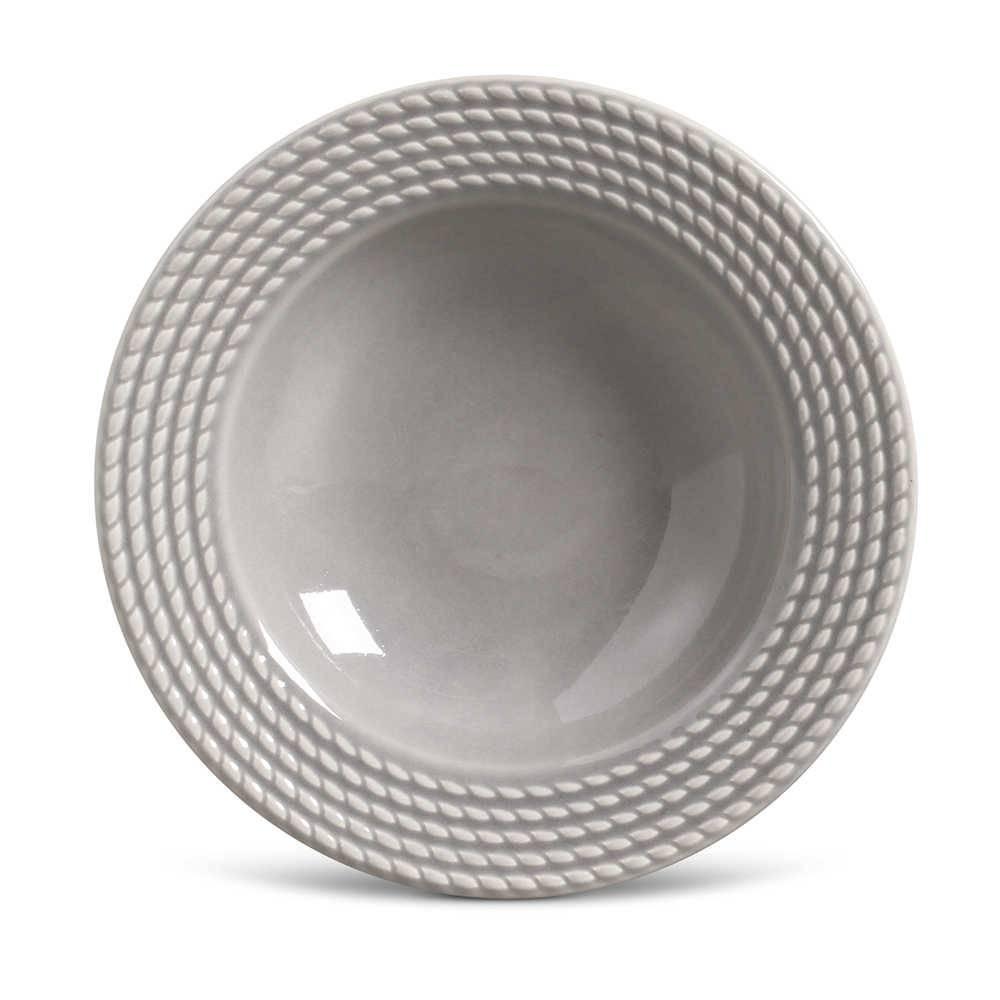 Conjunto de Pratos Fundos Olimpia Cinza Claro - 6 Peças - em Cerâmica - La Tavola - Porto Brasil - 22x5 cm