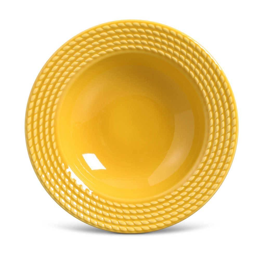 Conjunto de Pratos Fundos Olimpia Mostarda - 6 Peças - em Cerâmica - La Tavola - Porto Brasil - 22x5 cm