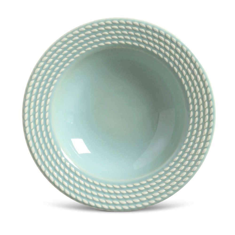 Conjunto de Pratos Fundos Olimpia Verde - 6 Peças - em Cerâmica - La Tavola - Porto Brasil - 22x5 cm