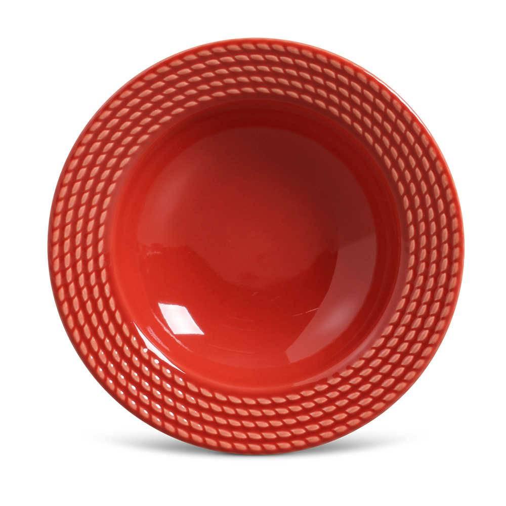Conjunto de Pratos Fundos Olimpia Vermelho - 6 Peças - em Cerâmica - La Tavola - Porto Brasil - 22x5 cm