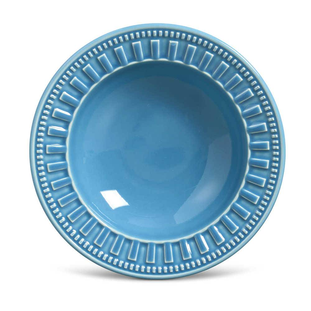 Conjunto de Pratos Fundos Parthenon Azul - 6 Peças - em Cerâmica - La Tavola - Porto Brasil - 22x5 cm