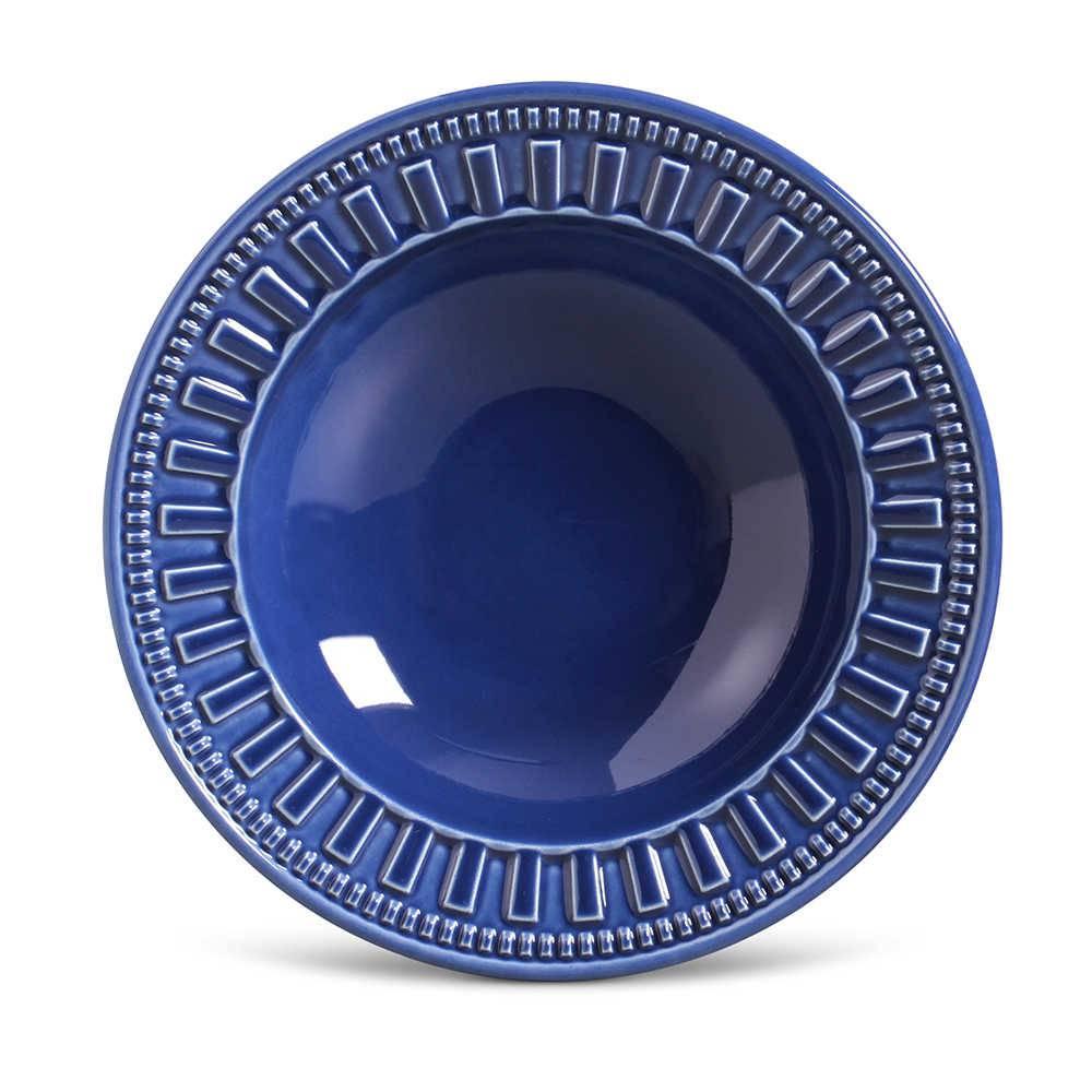 Conjunto de Pratos Fundos Parthenon Azul Navy - 6 Peças - em Cerâmica - La Tavola - Porto Brasil - 22x5 cm