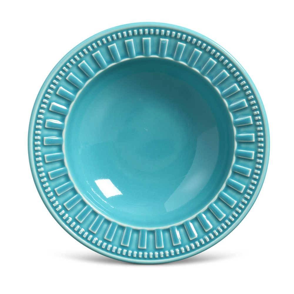 Conjunto de Pratos Fundos Parthenon Azul Poppy - 6 Peças - em Cerâmica - La Tavola - Porto Brasil - 22x5 cm