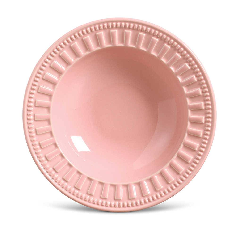 Conjunto de Pratos Fundos Parthenon Rosa - 6 Peças - em Cerâmica - La Tavola - Porto Brasil - 22x5 cm