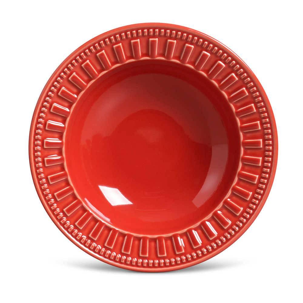 Conjunto de Pratos Fundos Parthenon Vermelho - 6 Peças - em Cerâmica - La Tavola - Porto Brasil - 22x5 cm