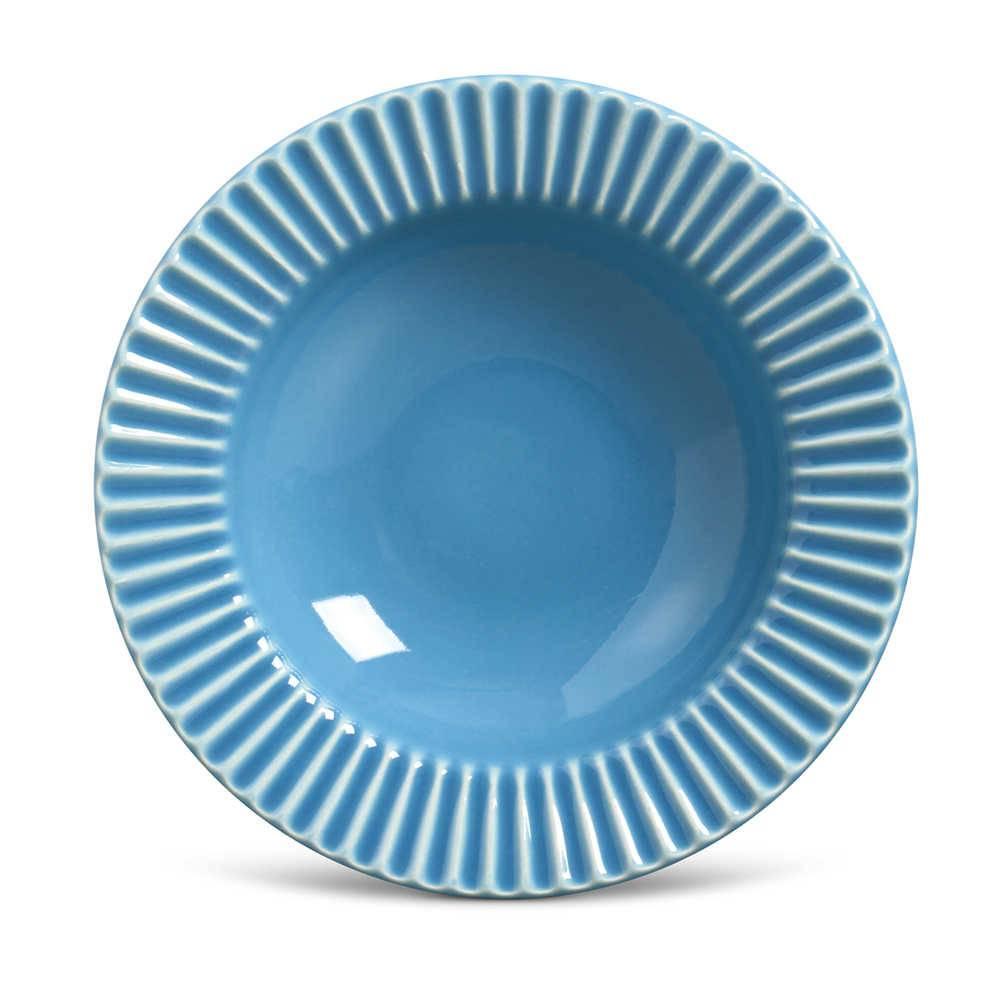 Conjunto de Pratos Fundos Plissé Azul - 6 Peças - em Cerâmica - La Tavola - Porto Brasil - 22x5 cm