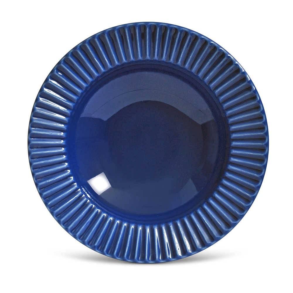 Conjunto de Pratos Fundos Plissé Azul Navy - 6 Peças - em Cerâmica - La Tavola - Porto Brasil - 22x5 cm