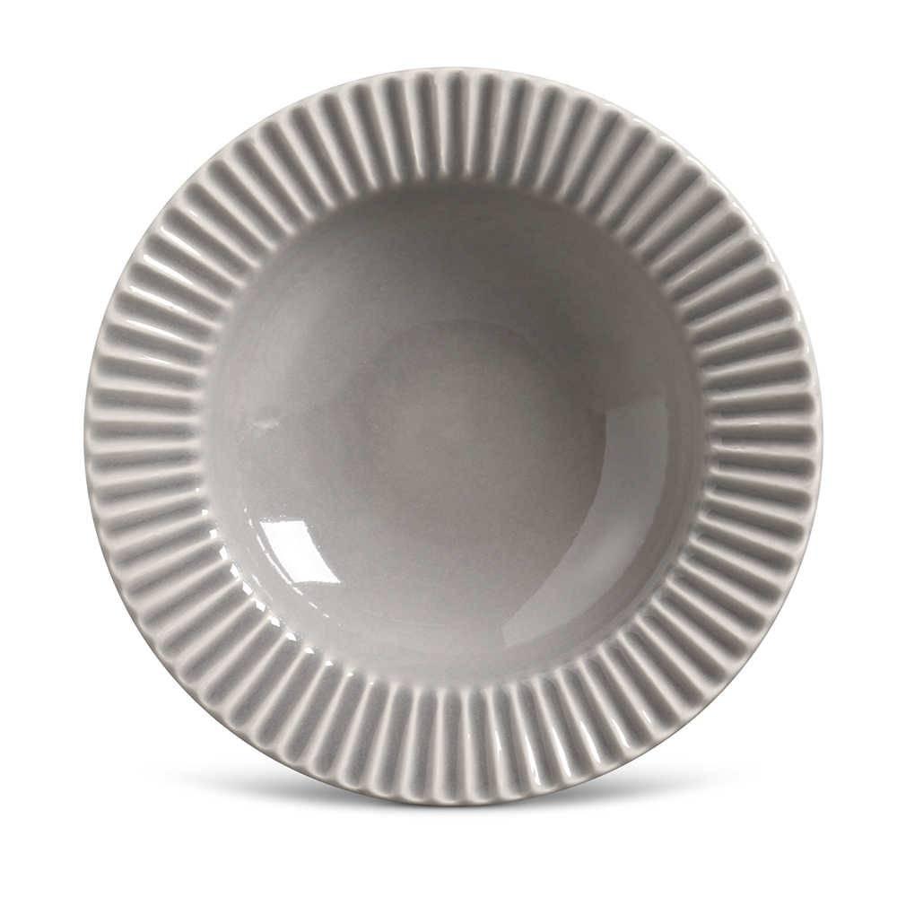 Conjunto de Pratos Fundos Plissé Cinza Claro - 6 Peças - em Cerâmica - La Tavola - Porto Brasil - 22x5 cm