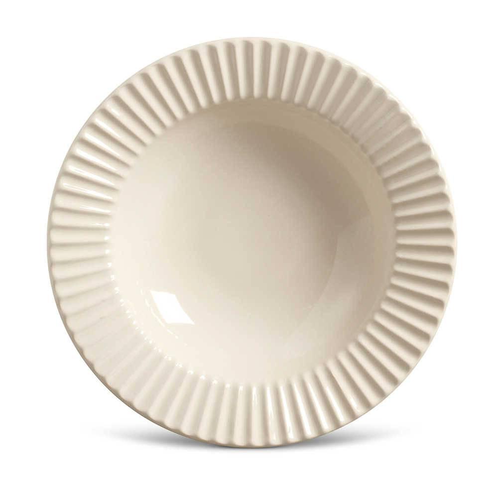 Conjunto de Pratos Fundos Plissé Crú - 6 Peças - em Cerâmica - La Tavola - Porto Brasil - 22x5 cm