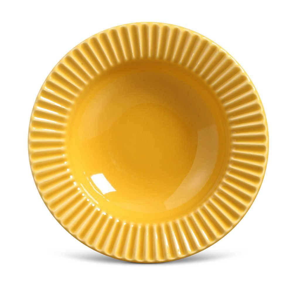 Conjunto de Pratos Fundos Plissé Mostarda - 6 Peças - em Cerâmica - La Tavola - Porto Brasil - 22x5 cm