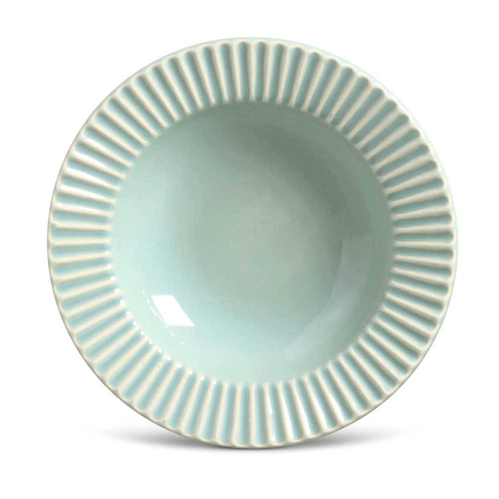 Conjunto de Pratos Fundos Plissé Verde - 6 Peças - em Cerâmica - La Tavola - Porto Brasil - 22x5 cm