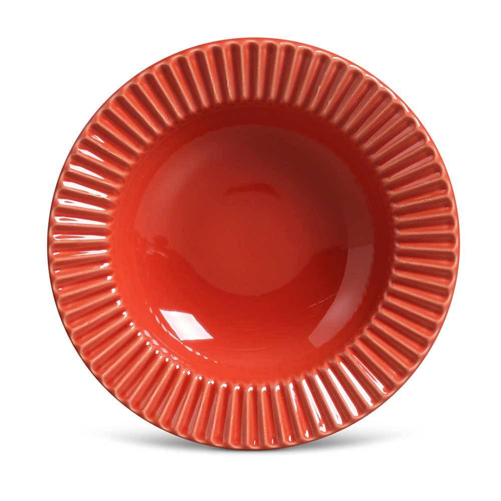 Conjunto de Pratos Fundos Plissé Vermelho - 6 Peças - em Cerâmica - La Tavola - Porto Brasil - 22x5 cm