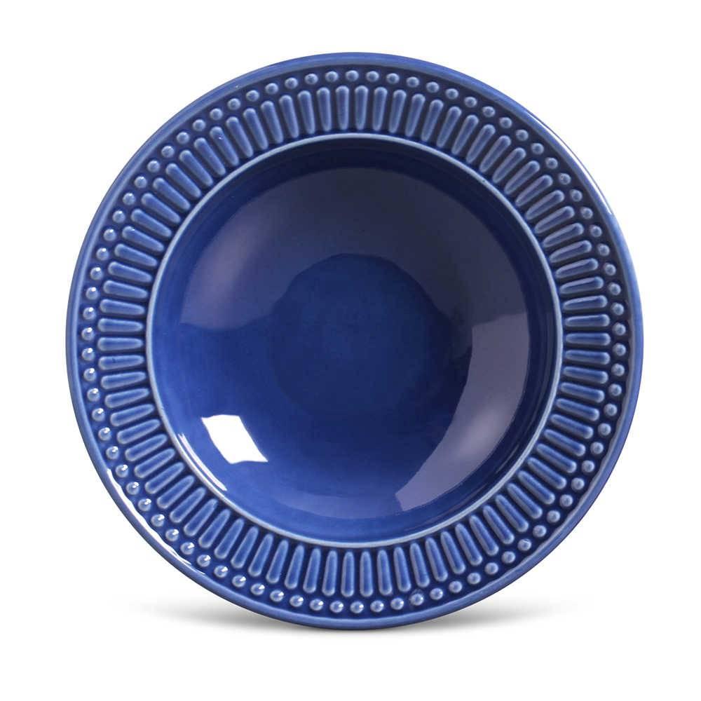 Conjunto de Pratos Fundos Roma Azul Navy - 6 Peças - em Cerâmica - La Tavola - Porto Brasil - 22x5 cm