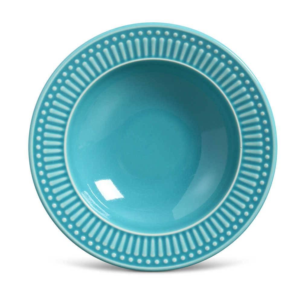 Conjunto de Pratos Fundos Roma Azul Poppy - 6 Peças - em Cerâmica - La Tavola - Porto Brasil - 22x5 cm