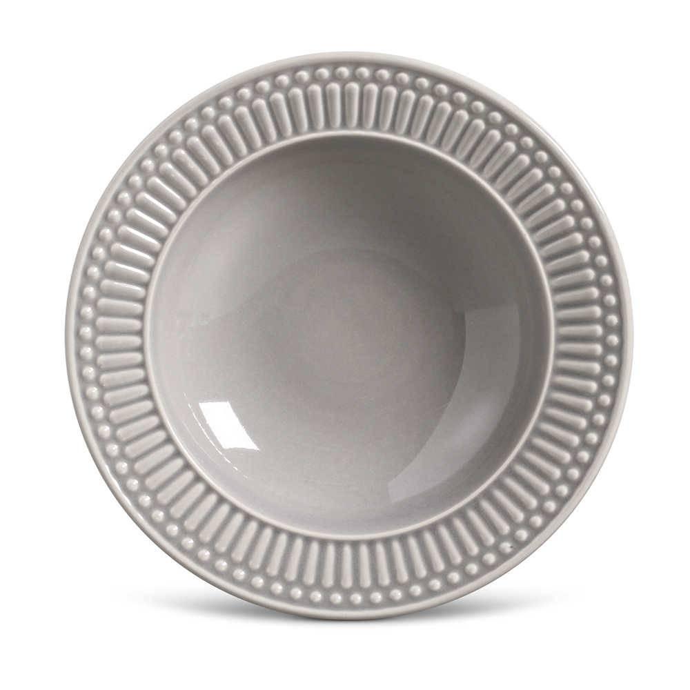 Conjunto de Pratos Fundos Roma Cinza Claro - 6 Peças - em Cerâmica - La Tavola - Porto Brasil - 22x5 cm