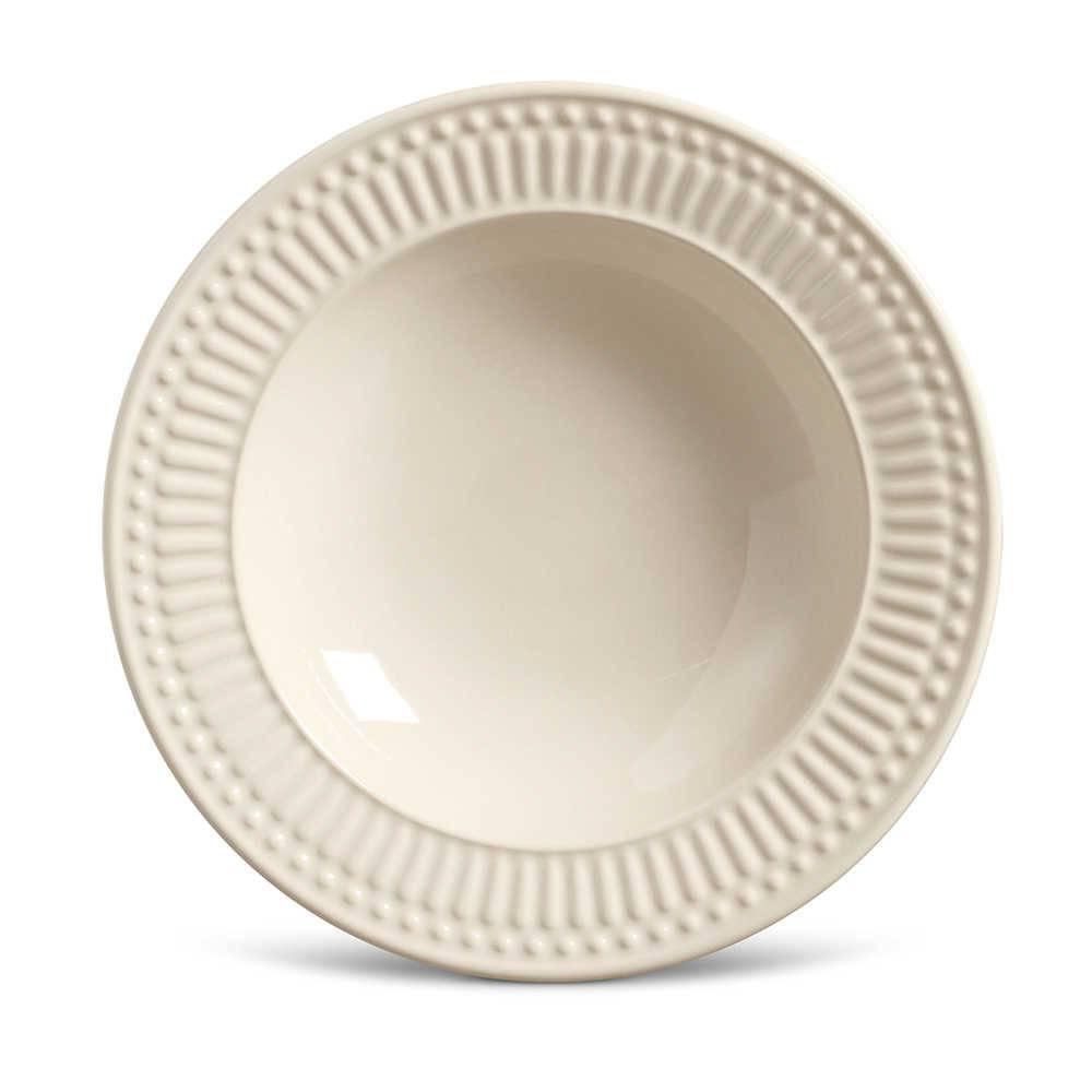 Conjunto de Pratos Fundos Roma Crú - 6 Peças - em Cerâmica - La Tavola - Porto Brasil - 22x5 cm