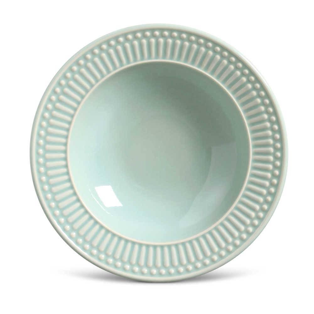 Conjunto de Pratos Fundos Roma Verde - 6 Peças - em Cerâmica - La Tavola - Porto Brasil - 22x5 cm