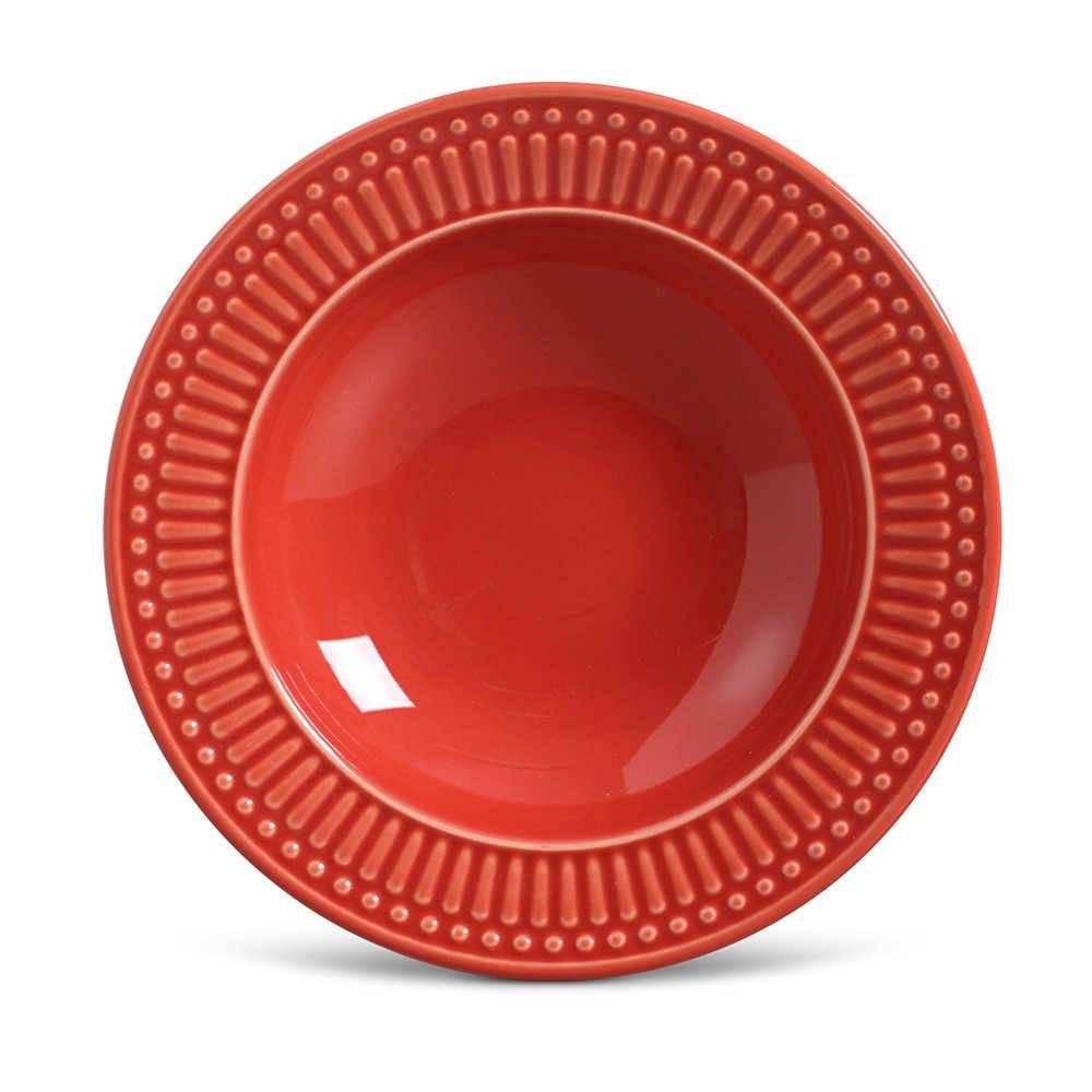 Conjunto de Pratos Fundos Roma Vermelho - 6 Peças - em Cerâmica - La Tavola - Porto Brasil - 22x5 cm