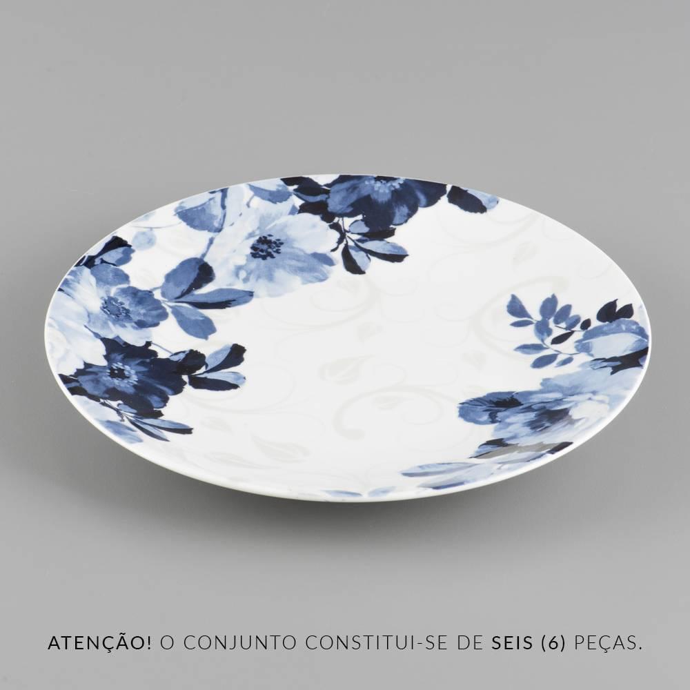 Conjunto Pratos de Jantar Florais - 6 Peças - Branco/Azul em Porcelana - 27 cm