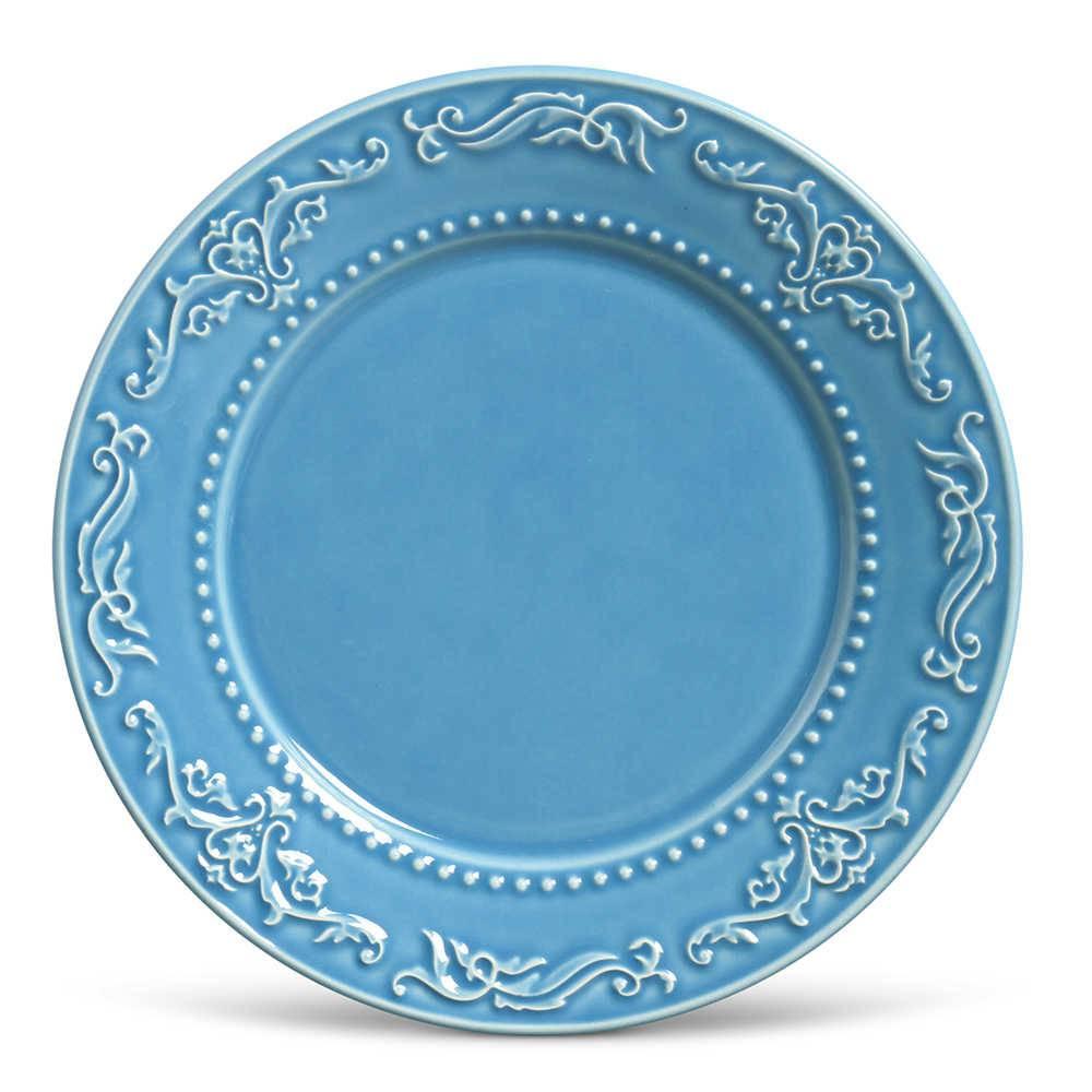 Conjunto de Pratos Rasos Acanthus Azul Celeste - 6 Peças - em Cerâmica - La Tavola - Porto Brasil - 26,5x2,8 cm