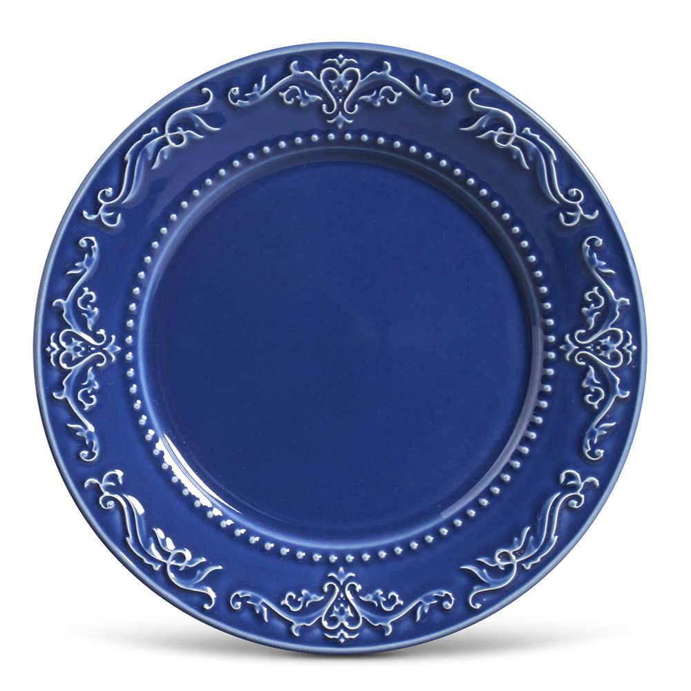 Conjunto de Pratos Rasos Acanthus Azul Navy - 6 Peças - em Cerâmica - La Tavola - Porto Brasil - 26,5x2,8 cm