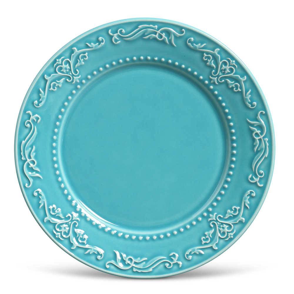 Conjunto de Pratos Rasos Acanthus Azul Poppy - 6 Peças - em Cerâmica - La Tavola - Porto Brasil - 26,5x2,8 cm