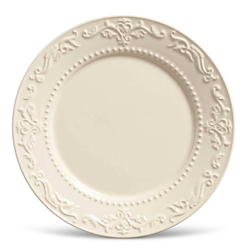 Conjunto de Pratos Rasos Acanthus Crú - 6 Peças - em Cerâmica - La Tavola - Porto Brasil - 26,5x2,8 cm