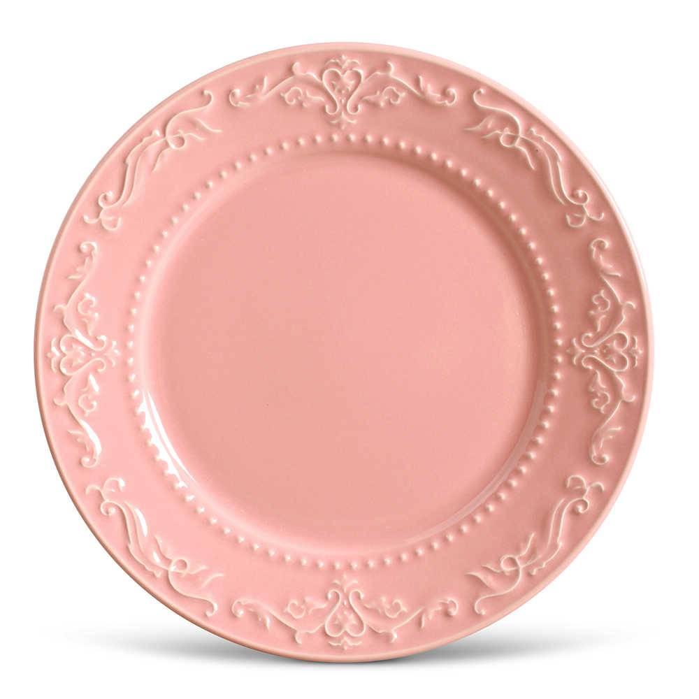 Conjunto de Pratos Rasos Acanthus Rosa - 6 Peças - em Cerâmica - La Tavola - Porto Brasil - 26,5x2,8 cm