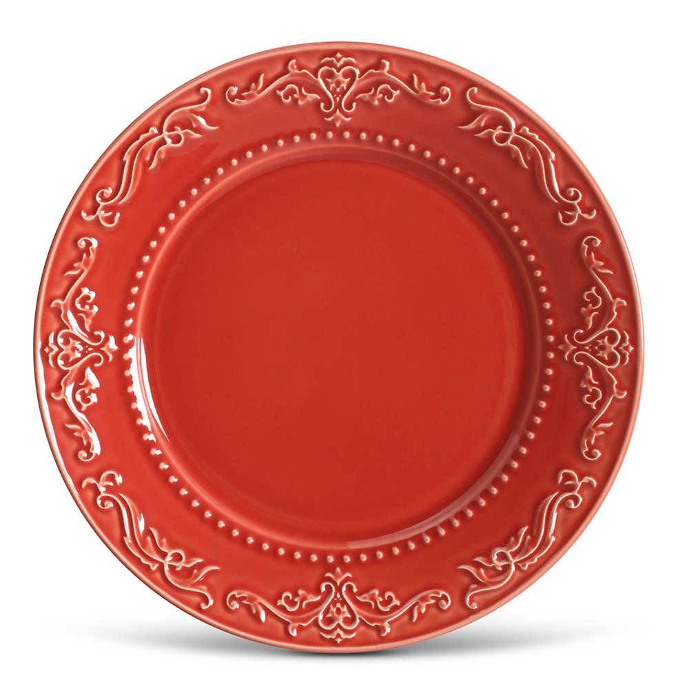 Conjunto de Pratos Rasos Acanthus Vermelho - 6 Peças - em Cerâmica - La Tavola - Porto Brasil - 26,5x2,8 cm