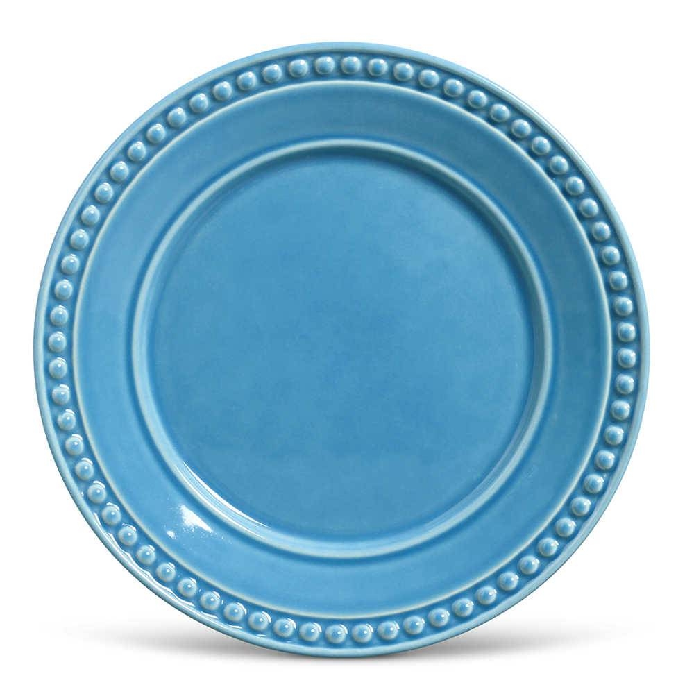 Conjunto de Pratos Rasos Atenas Azul Celeste - 6 Peças - em Cerâmica - La Tavola - Porto Brasil - 26,5x2,8 cm