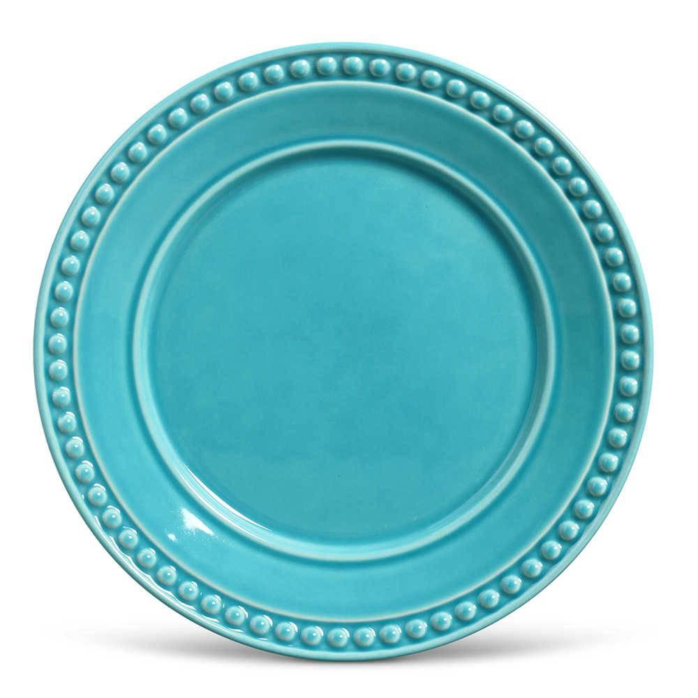 Conjunto de Pratos Rasos Atenas Azul Poppy - 6 Peças - em Cerâmica - La Tavola - Porto Brasil - 26,5x2,8 cm