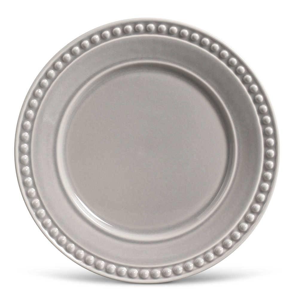 Conjunto de Pratos Rasos Atenas Cinza - 6 Peças - em Cerâmica - La Tavola - Porto Brasil - 26,5x2,8 cm