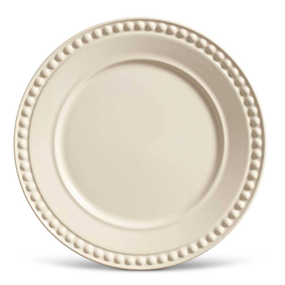 Conjunto de Pratos Rasos Atenas Crú - 6 Peças - em Cerâmica - La Tavola - Porto Brasil - 26,5x2,8 cm