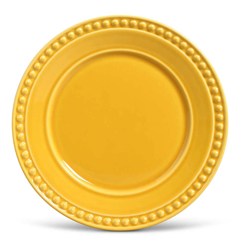 Conjunto de Pratos Rasos Atenas Mostarda - 6 Peças - em Cerâmica - La Tavola - Porto Brasil - 26,5x2,8 cm