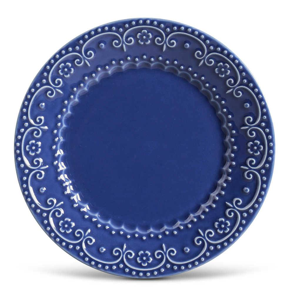 Conjunto de Pratos Rasos Esparta Azul Navy - 6 Peças - em Cerâmica - La Tavola - Porto Brasil - 26,5x2,8 cm